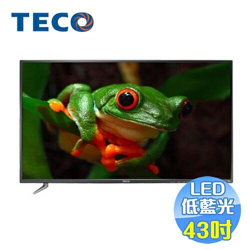 【滿3千,15%點數回饋(1%=1元)】東元TECO43吋低藍光液晶電視TL43K1TRE