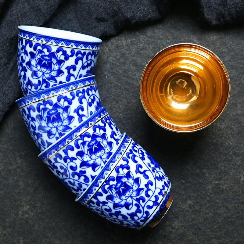 青花瓷大號品茗杯功夫茶具陶瓷喝茶杯墊個人杯單杯 主人杯子配件