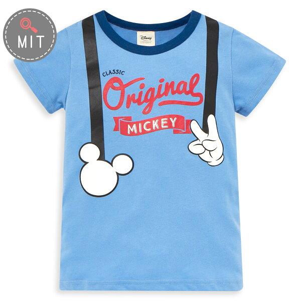 Disney米奇系列復古小紳仕圓領上衣-亮天藍