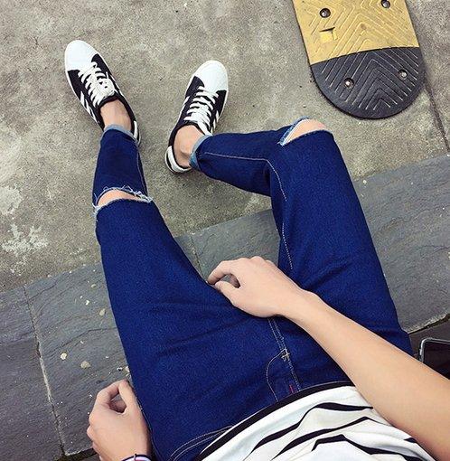 【JP.美日韓】潮流 男 刀割 破褲 窄管 鉛筆褲子 窄管褲 超彈性 單寧牛仔 推薦 好穿