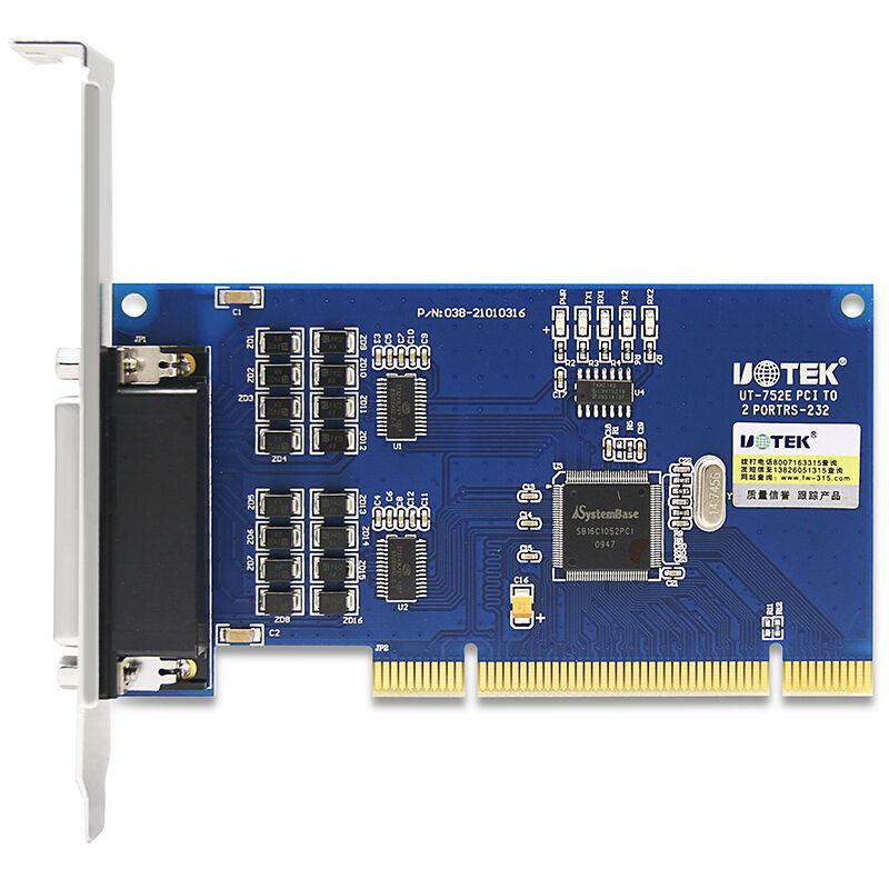 宇泰UT-752E PCI串口卡 工業級pci轉2口rs232擴展卡 防雷多串口卡pc主板九針232串口兩口轉接卡拓展卡