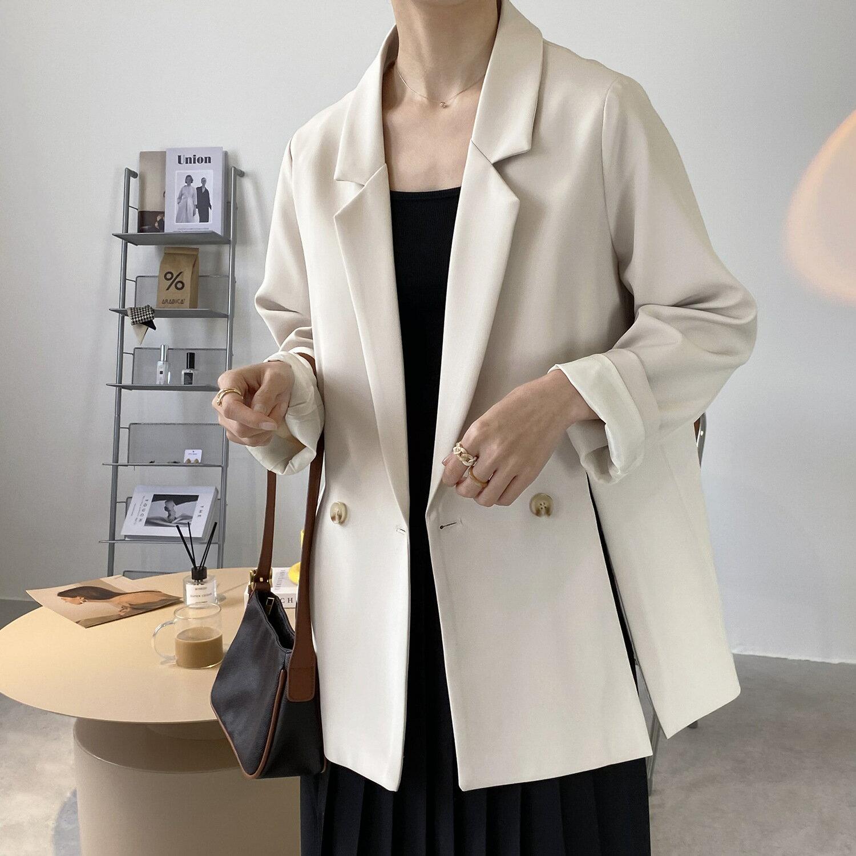 黑色小西裝外套女2021春季寬鬆韓版設計感開叉純色西服