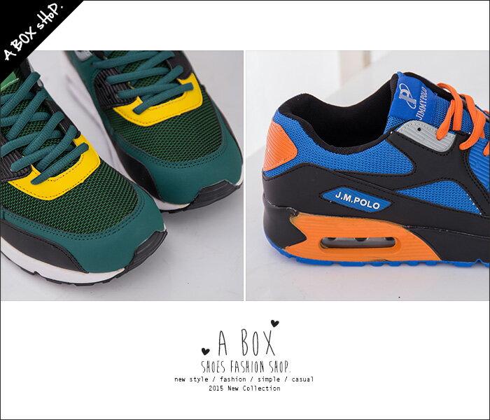 格子舖*【AJ68043】運動男款 休閒舒適氣墊 透氣布繫帶時尚撞色設計 運動鞋 帆布鞋 2色 1