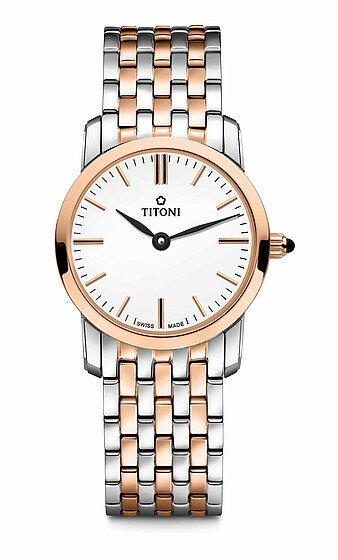 TITONI瑞士梅花錶纖薄系列TQ42918SRG-583簡約金屬時尚腕錶/玫瑰金24mm