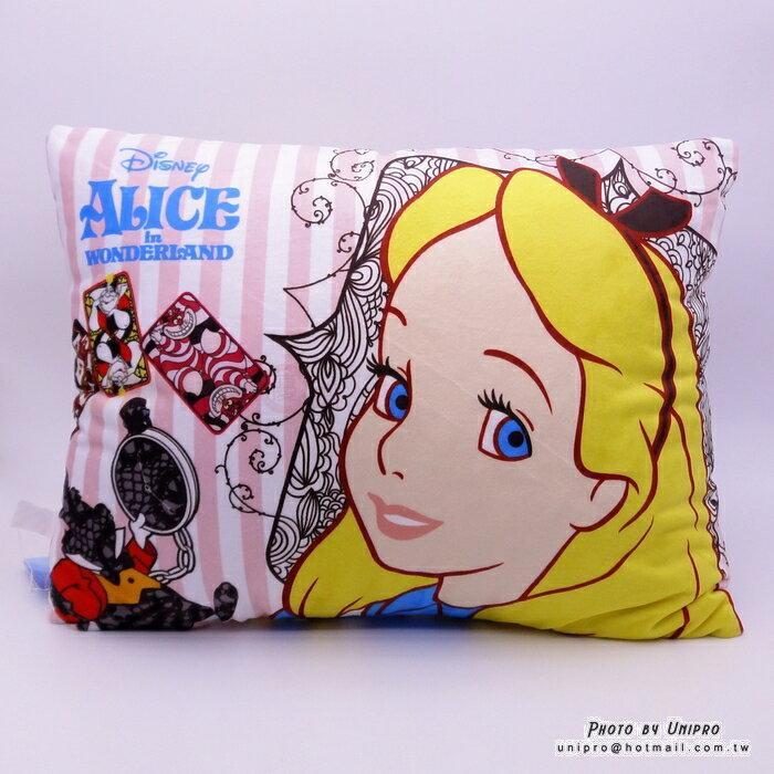 ~UNIPRO~ 迪士尼 愛麗絲夢遊仙境 愛麗絲條紋 雙面 抱枕 方枕 枕頭 枕套不可拆