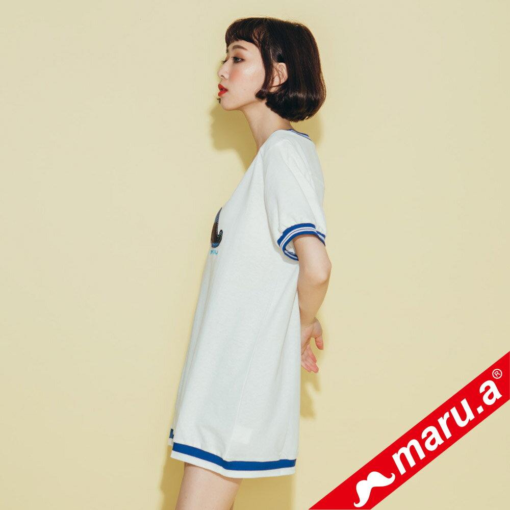 【maru.a】大鬍子撞色羅紋T-Shirt(2色)8321316 2
