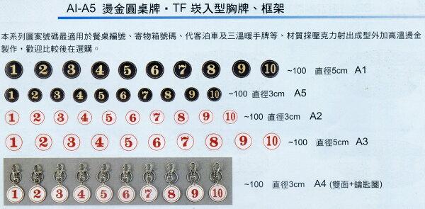 【文具通】A1圓桌牌門牌標示牌號碼牌數字可貼黑底金字直徑約5cm餐飲飯店小吃1號~100號訂購您需求總數量,並來電告知號碼與數量AA011034