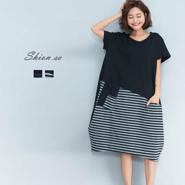 享瘦衣舍中大尺碼【B7171】側邊口袋&拼接造型連衣裙