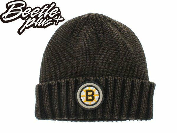 BEETLE MITCHELL&NESS NHL 波士頓棕熊 咖啡色 素面 圓標 LOGO 毛線帽 針織帽 - 限時優惠好康折扣