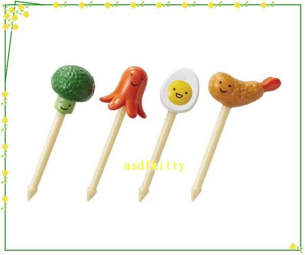 廚房【asdfkitty】熱狗雞蛋青花菜炸蝦天婦羅食物叉水果插-日本msa正版商品