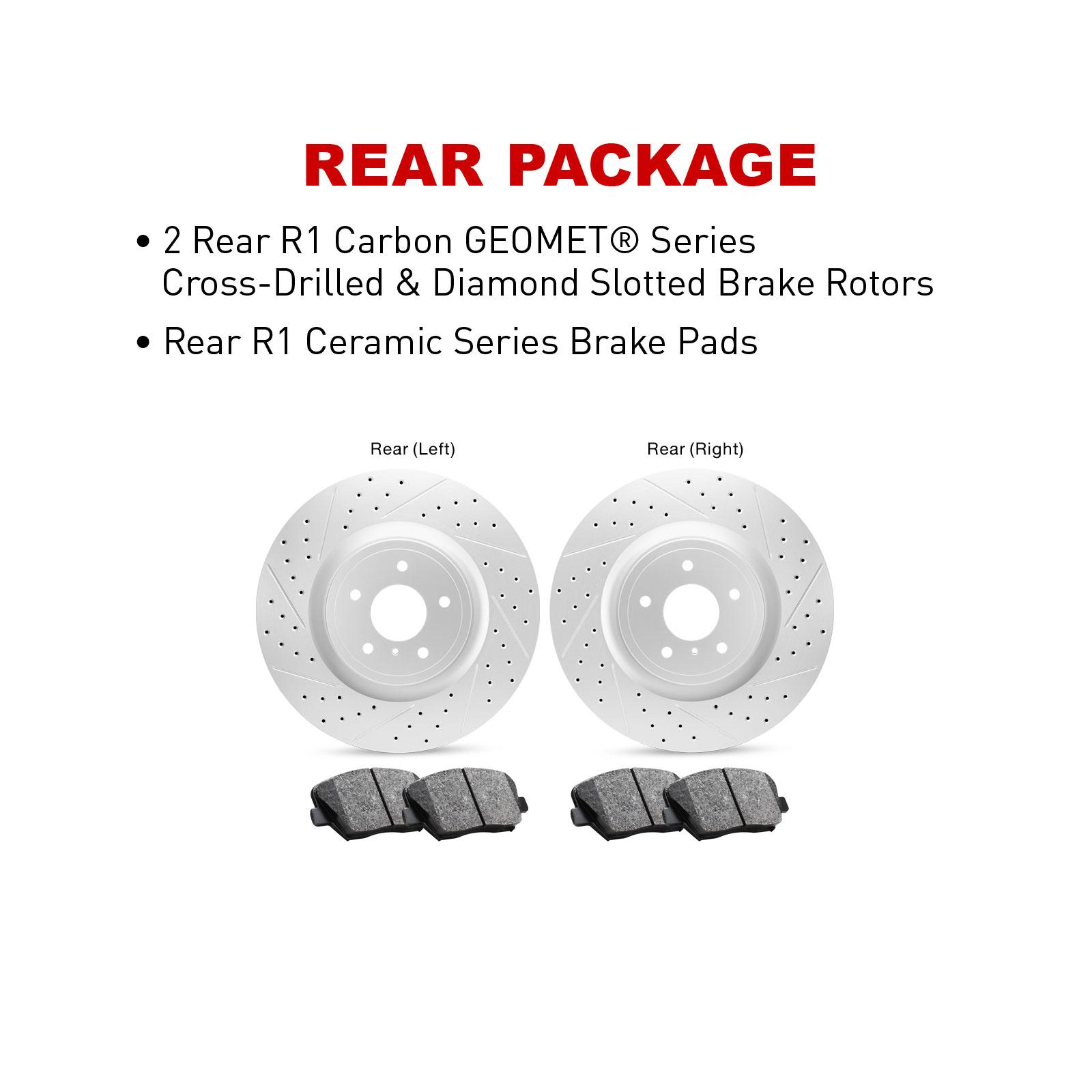Front Set R1 Carbon Geomet Drill//Slot Brake Rotors Ceramic Brake Pads