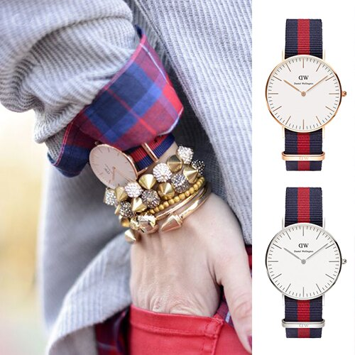 【Cadiz】瑞典正品 Daniel Wellington 手錶 0501DW CLASSIC OXFORD 藍紅尼龍錶帶 蛋殼白錶盤 36mm 對錶 情侶錶 男女錶 兩年保固