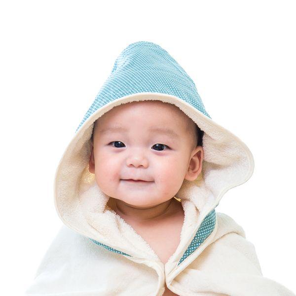 ★衛立兒生活館★Nizio 小蘑菇天然棉紗浴巾(無染)-藍綠點點