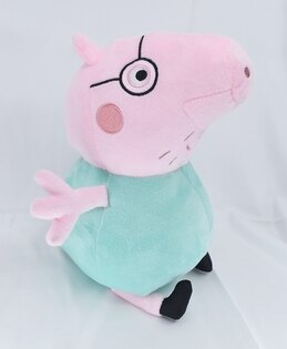 X射線【C041641】粉紅豬小妹PeppaPig10吋玩偶-爸爸豬,絨毛填充玩偶玩具公仔抱枕靠枕娃娃