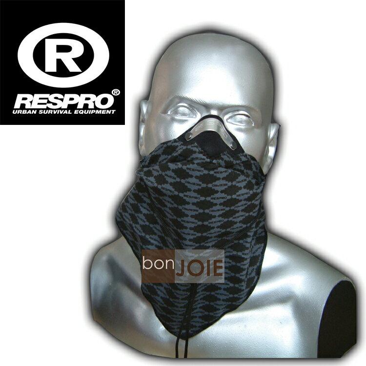 ::bonJOIE:: 英國進口 Respro Bandit Anti Pollution Scarf 領巾式口罩 (格菱灰)(全新盒裝) 防污染面巾 自行車 腳踏車 單車 摩托車 運動