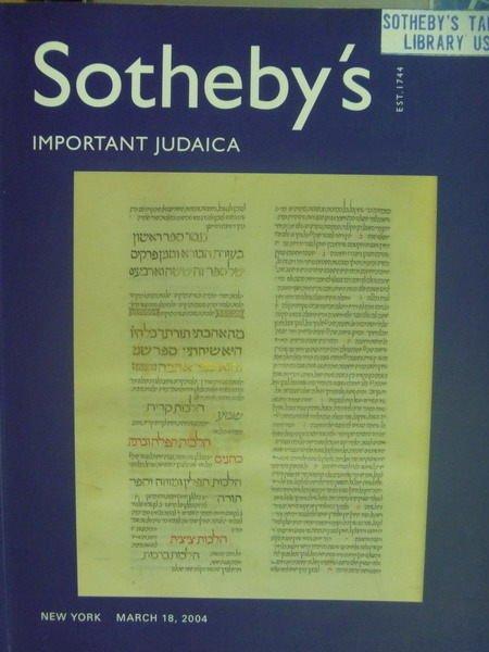 【書寶二手書T5/收藏_XFQ】Sothebys_2004/3/18_Important Judaica