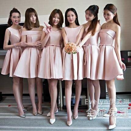 小禮服 粉色伴娘服2019新款姐妹團正韓閨蜜伴娘裙子短款伴娘禮服女小禮服