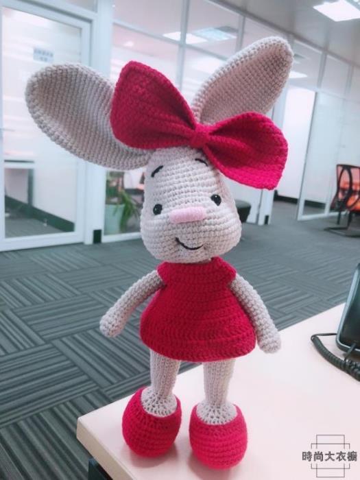 大耳朵兔子玩偶 手工diy鉤針編織毛線材料包 1