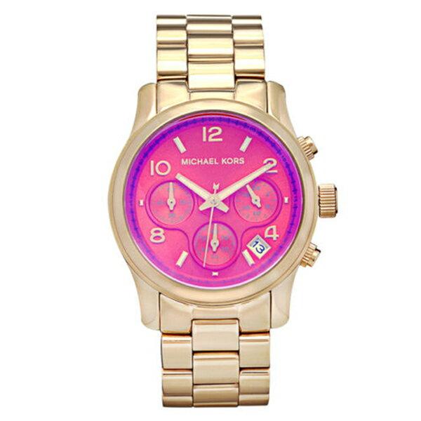Outlet 美國正品代購 Michael Kors MK 粉橘漸變色系 金色 女錶 手錶 腕錶 MK5939