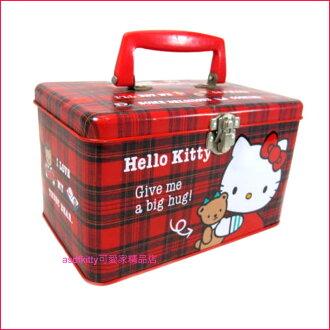 asdfkitty可愛家☆二手出清-KITTY抱小熊收納鐵盒/置物盒/收納盒-日本正版商品