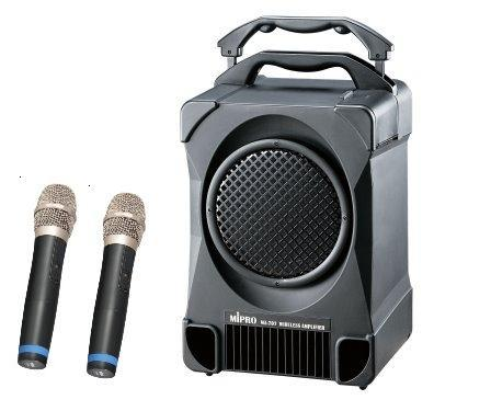 MIPRO MA-707 UHF 攜帶式教學無線麥克風擴音機喇叭 CD座+USB+二支無線麥克風
