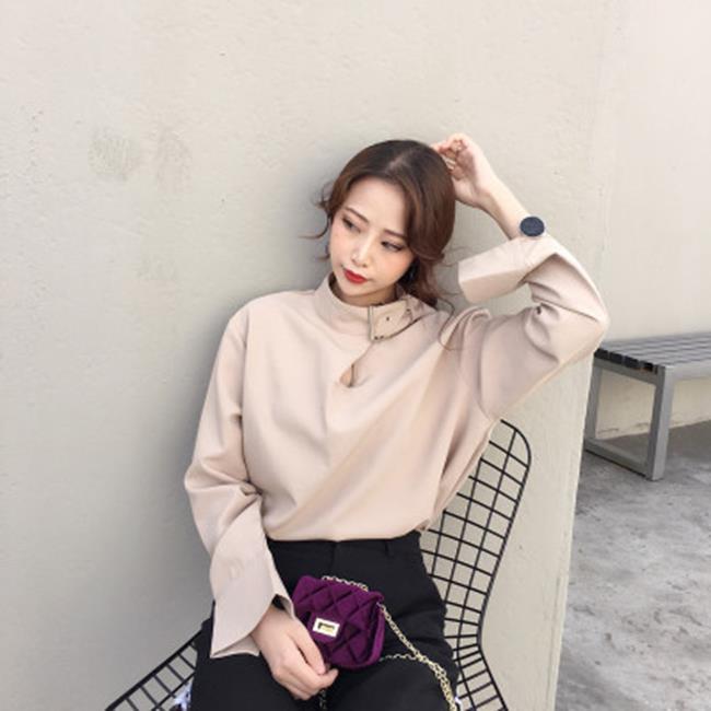 50%OFF SHOP【G022022C】實拍韓國chic早春鬼馬系少女酷酷噠!襯衫的領口扣起