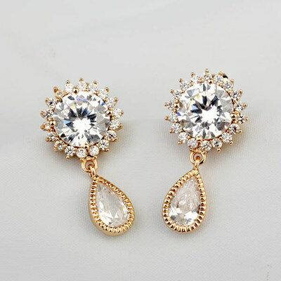 玫瑰金耳環925純銀鑲鑽耳飾~極致奢華艷麗動人情人節生日 女飾品2色73gs47~ ~~米