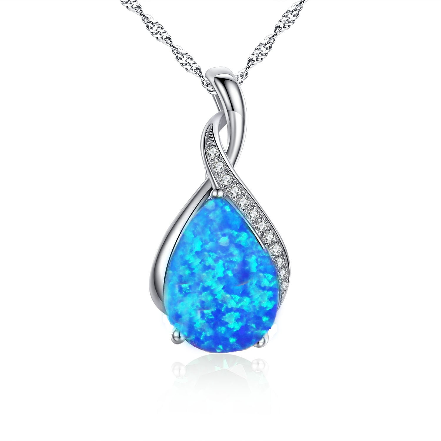sterling leah necklace round products junxin crystal fire zircon white vintage jewelry new drop opal filled blue pendant silver laura water