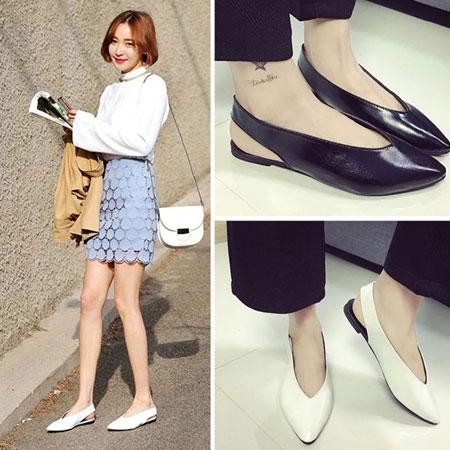 涼鞋 歐美時尚皮革素色尖頭涼鞋【S1617】☆雙兒網☆ 2