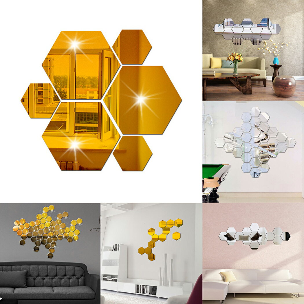 Mirror 12 Piece Hexagon Acrylic Mirror Wall Stickers 2 Colors 0