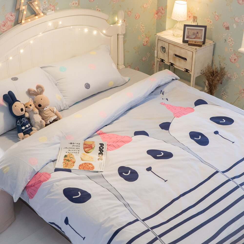 派對熊貓 床包/被套/兩用被/枕套 單品賣場 100%復古純棉