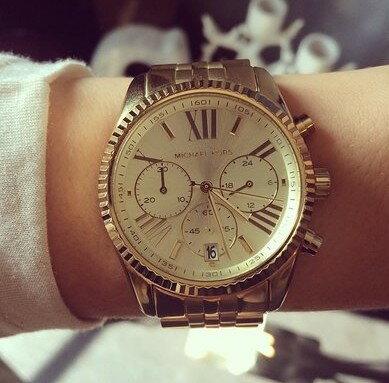 美國Outlet正品代購 MichaelKors MK  男女中性金色鋼帶錶 手錶 MK5556 7