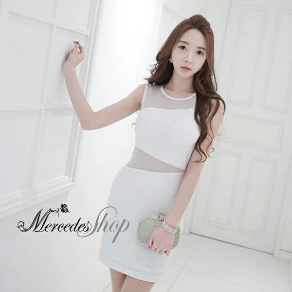 [現貨出清6折] 韓系性感薄沙露腰修身無袖洋裝-M-2XL - 梅西蒂絲