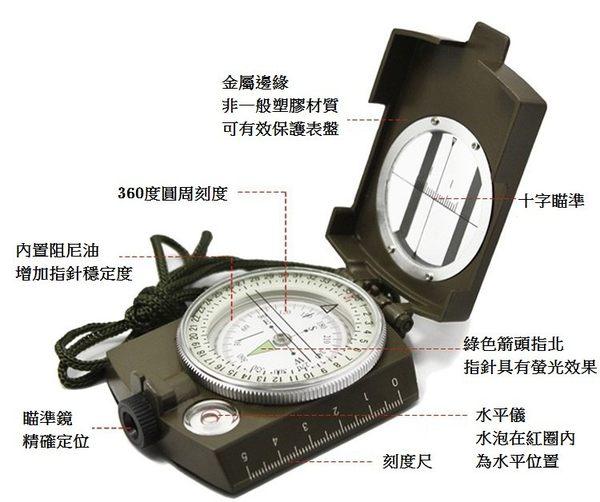 型指北針 贈外袋 美軍式指南針 夜光指南針 內置水平儀 露營 登山