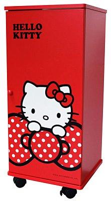 ~真愛 ~12043000001 蝴蝶結拉門三層滾輪櫃~紅 三麗鷗 Hello Kitty