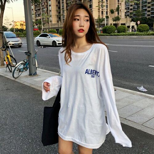 PS Mall BF風寬鬆韓版上衣 圓領長袖字母T恤【T707】 0