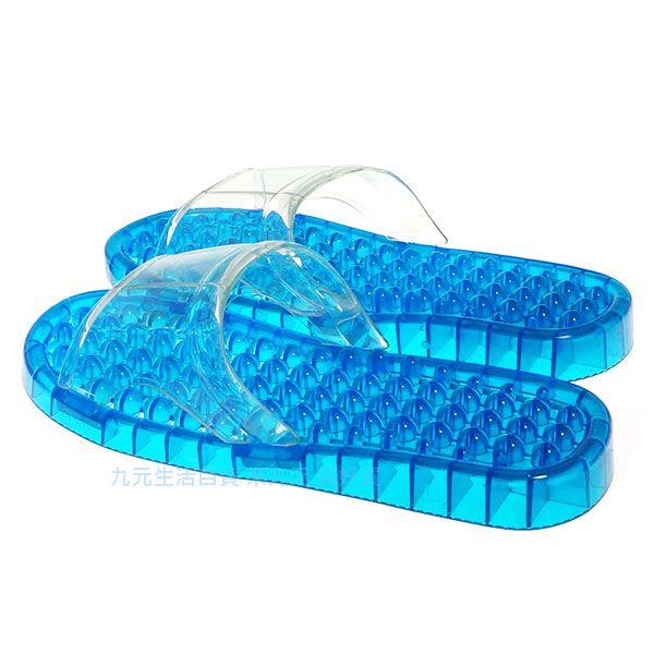 【九元生活百貨】皮久熊 藍色浴室按摩拖鞋/L 浴室拖