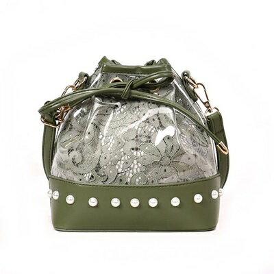 肩背包手提水桶包-珍珠抽帶透明蕾絲女包包4色73fc294【獨家進口】【米蘭精品】