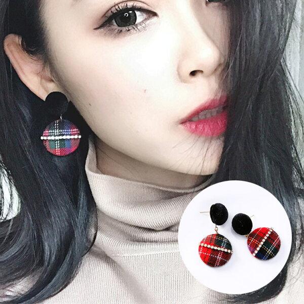 77美妝:絲絨英倫風格紋拚鑽耳環MISA8409