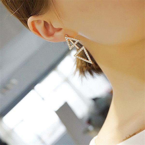 PS Mall 耳釘女氣質誇張大耳環鑲鑽三角型鏤空後掛式耳飾 款~G2171~ ~  好康