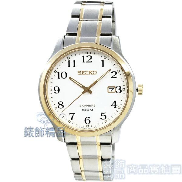 【錶飾精品】SEIKO手錶SGEH68P1精工表藍寶石鏡面白面數字時標半金鋼帶男錶全新原廠正品
