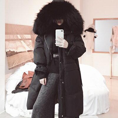 羽絨外套貉子毛領風衣-抽繩收腰連帽可拆卸女夾克2色73tx2【獨家進口】【米蘭精品】