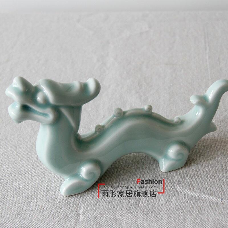 陶瓷龍擺件影青色手工筆架鎮紙壓畫客廳書房桌面玄關裝飾
