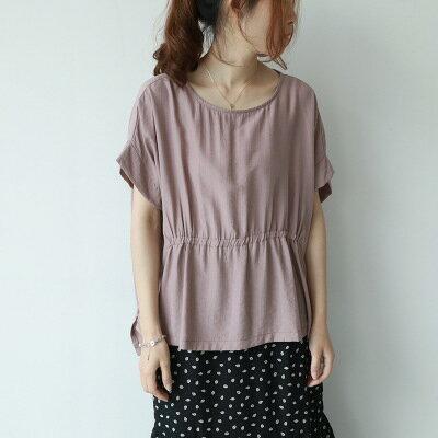韓系女裝純色圓領銅氨絲短袖罩衫T恤樂天時尚館。預購。[全店免運]
