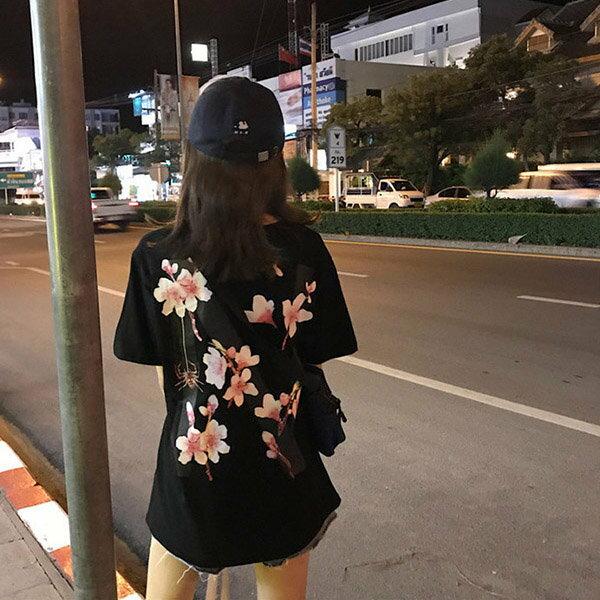 T恤背後花朵印花學院風個性短袖T恤【MY1872】BOBI0705