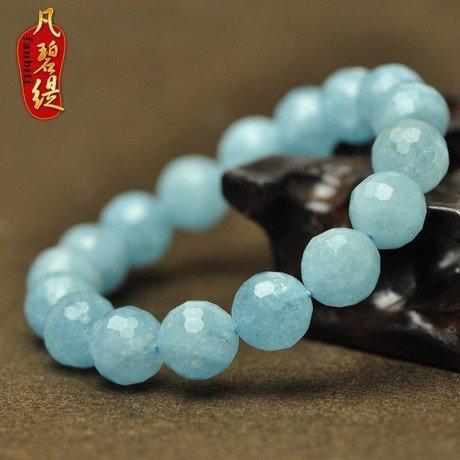 極品刻面海藍寶手鏈 海藍寶手鏈 水晶
