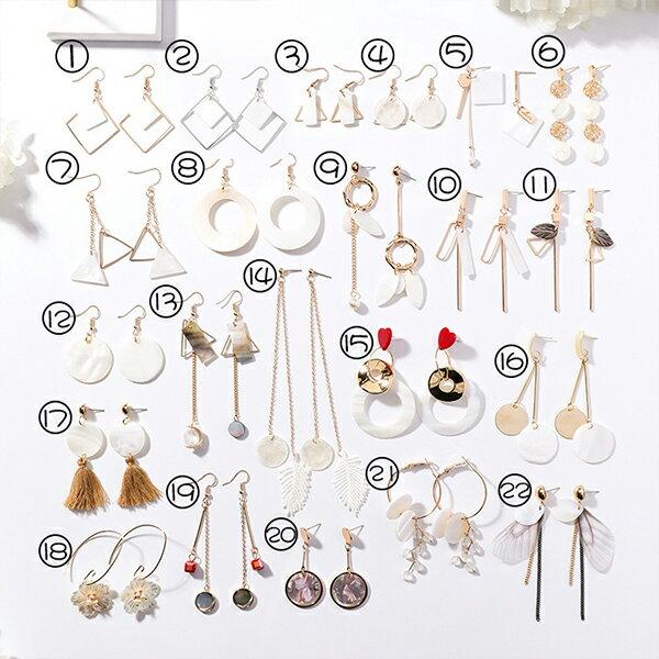 PS Mall 韓版手作貝殼花瓣幾何圓形金屬不對稱長款耳環【G091】 0