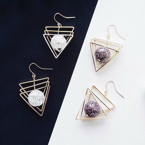 耳環多層三角形鏤空水晶誇張個性耳?耳環【DD1805018】BOBI0524