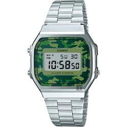【東洋商行】免運 CASIO 卡西歐 Digital 迷彩電子錶-綠x銀 A-168WEC-3DF 原廠公司貨 附保證卡 保固期一年