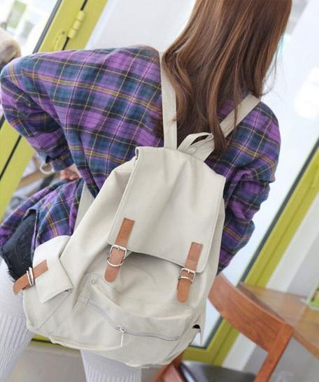 ~大容量皮帶扣後背包~  後背包 學院風旅行包 書包  玩包